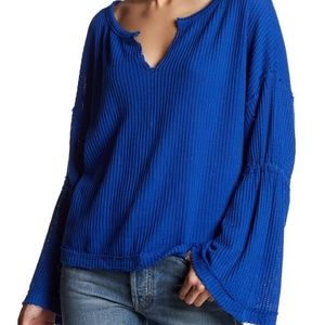NWT Free People Dahlia Bell Sleeve Thermal top